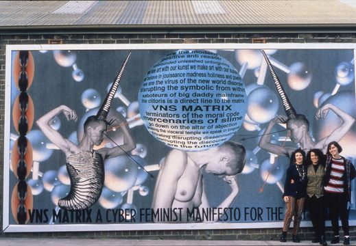 A billboard based on the manifesto shown on the side of Tin Sheds Gallery, Sydney
