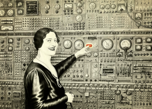 """Do Not Touch the Red Button!"" by Laurie Lipton"